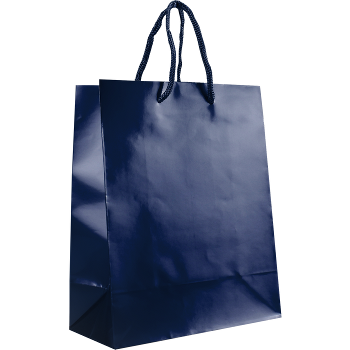 Navy Blue Small Glossy Shopper Bag