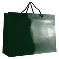 Hunter Green Large Glossy Shopper Bag Thumb