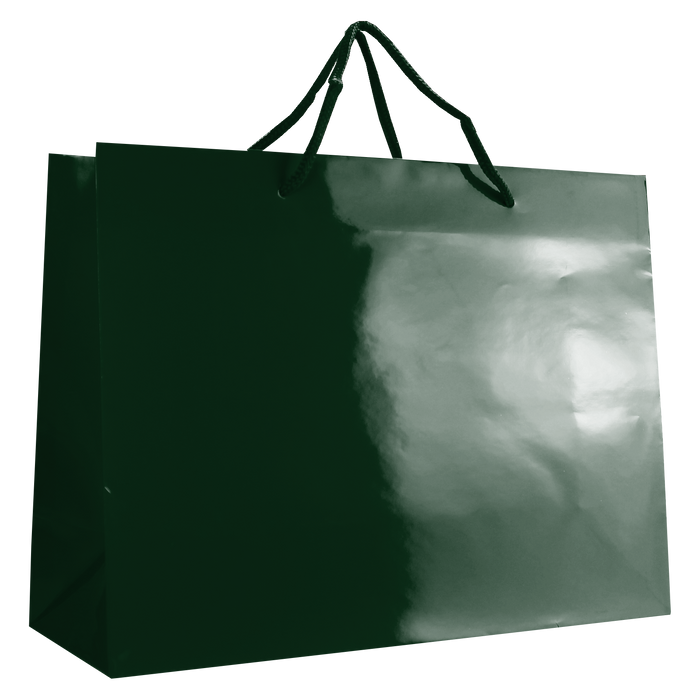 Hunter Green Large Glossy Shopper Bag
