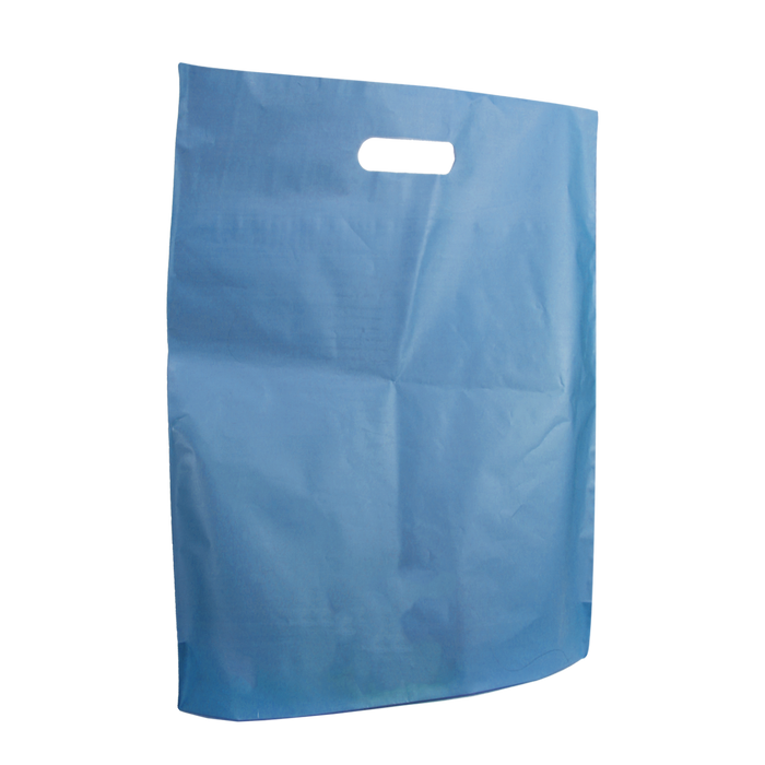 Blue Large Frosted Die Cut Bag