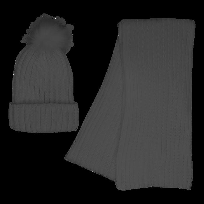 Gray Cozy Knit Hat & Scarf Set