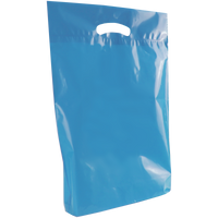 Blue Medium Eco-Friendly Die Cut Plastic Bag Thumb