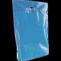 Blue Medium Eco-Friendly Die Cut Plastic Bag Thumb