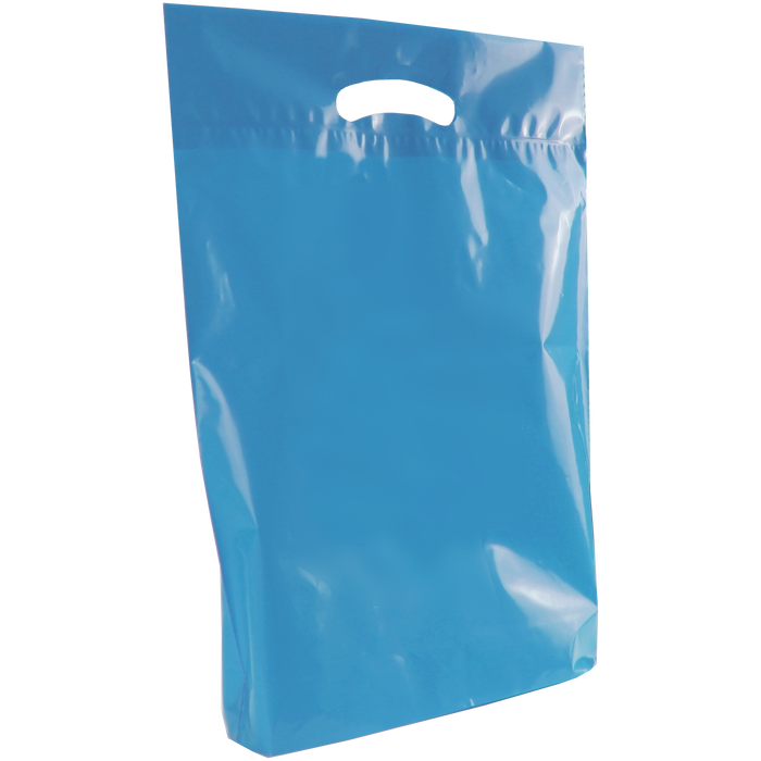 Blue Medium Eco-Friendly Die Cut Plastic Bag