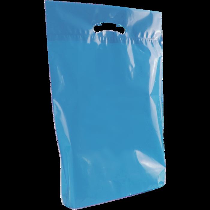 Blue Medium Eco-Friendly Die Cut Plastic Bag