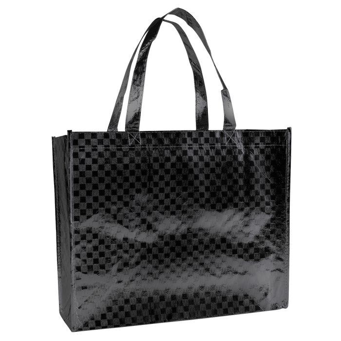 Metallic Black Metallic Designer Laminated Tote