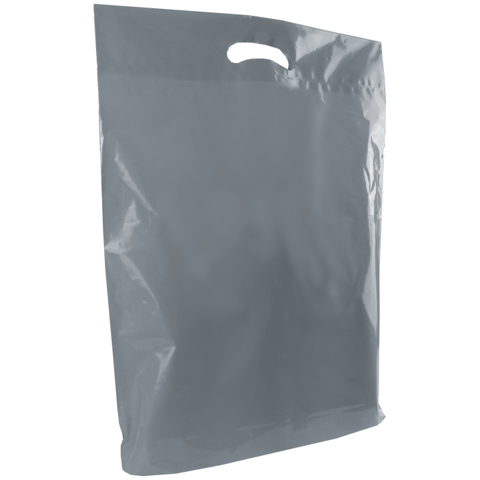 Gray Large Die Cut Plastic Bag