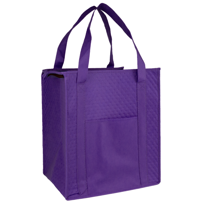 Purple Insulated Cooler Tote with Pocket