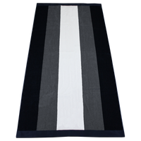 Grey / Navy Hampton Striped Beach Towel Thumb