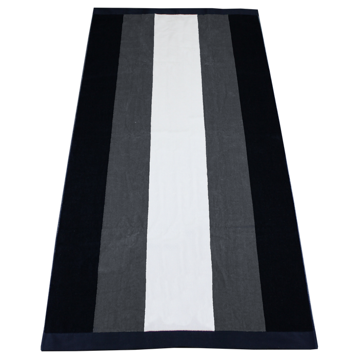 Grey / Navy Hampton Striped Beach Towel