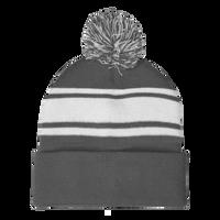 Gray Striped Winter Beanie Thumb