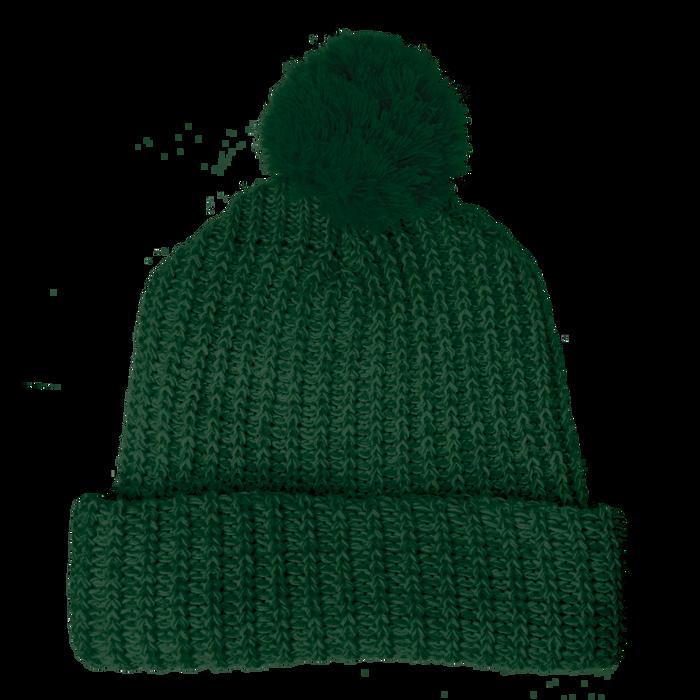 Forest Green Knit Pom Beanie