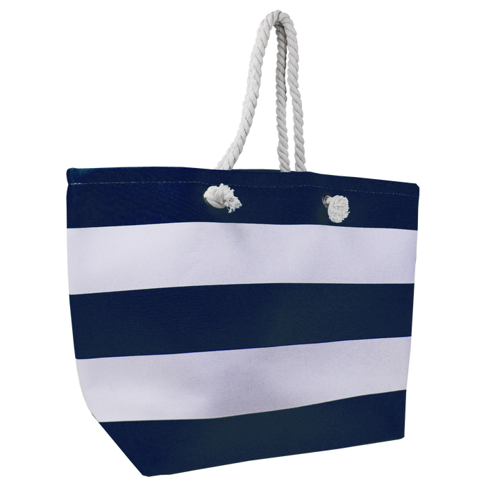 Navy Marina Striped Beach Tote