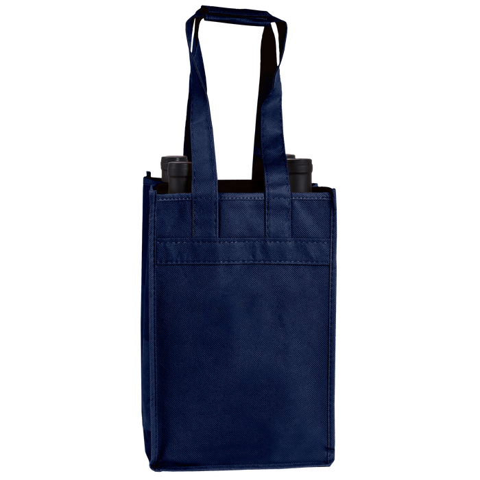 Navy Blue 4 Bottle Wine Tote