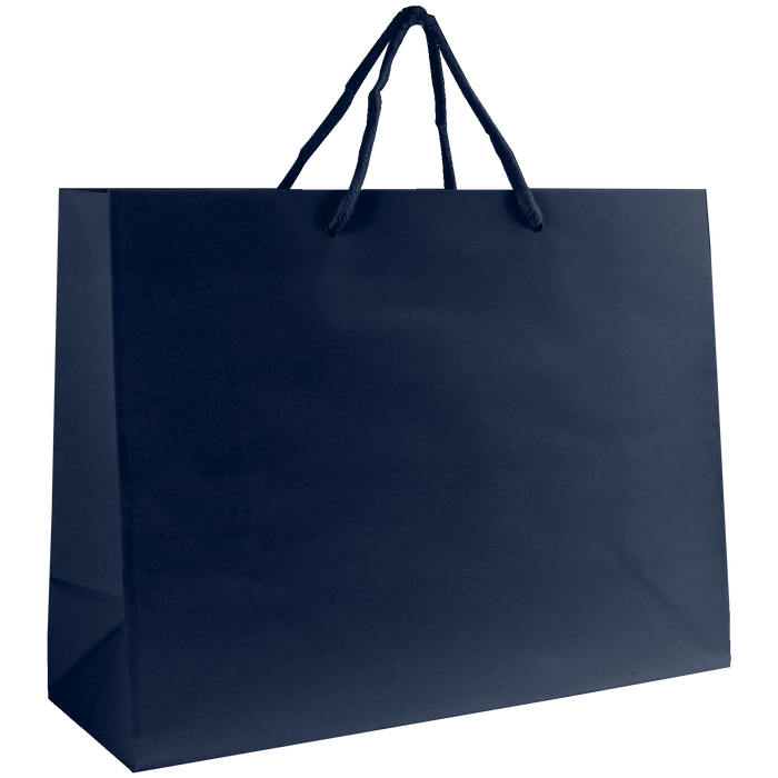 Navy Blue Medium Glossy Shopper Bag