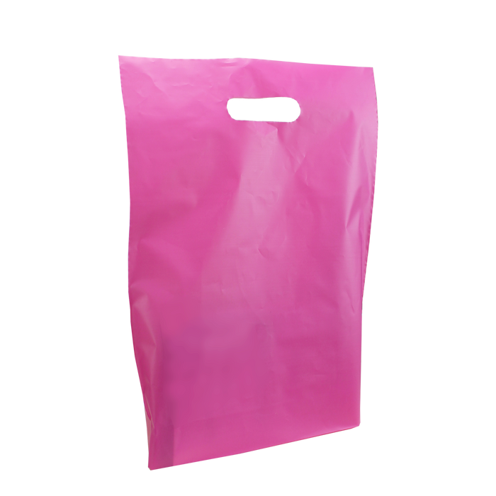 Pink Medium Frosted Die Cut Bag