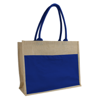 Blue Organic Jute Canvas Beach Tote Thumb