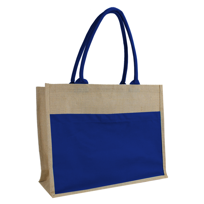 Blue Organic Jute Canvas Beach Tote