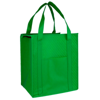 Lime Green Insulated Tote with Pocket Thumb