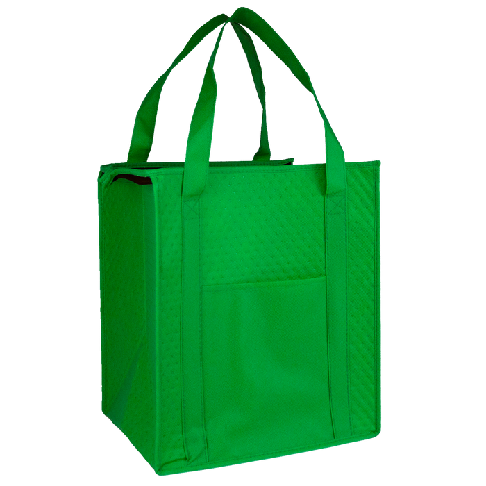 Lime Green Insulated Cooler Tote with Pocket