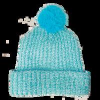 Light Blue Knit Pom Beanie Thumb