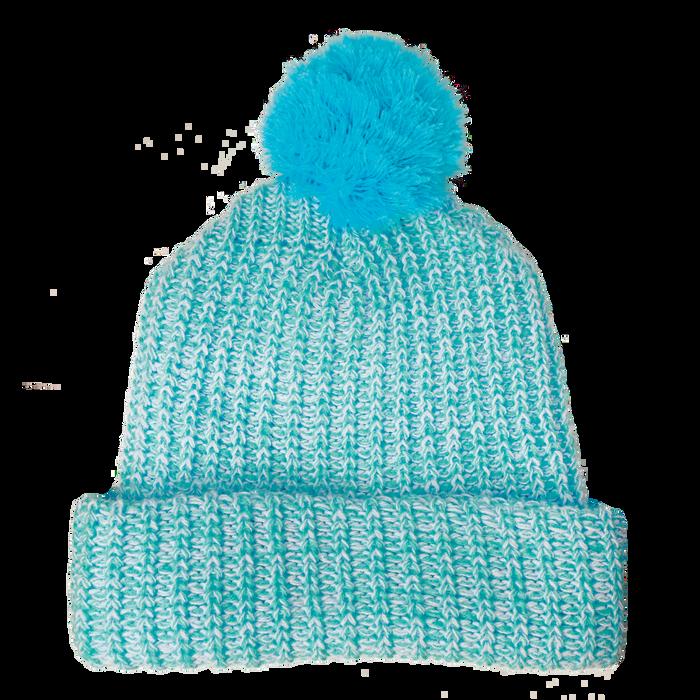 Light Blue Knit Pom Beanie