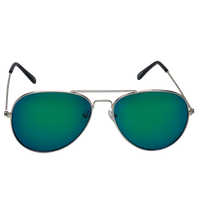Green Mirrored Miami Aviator Sunglasses Thumb