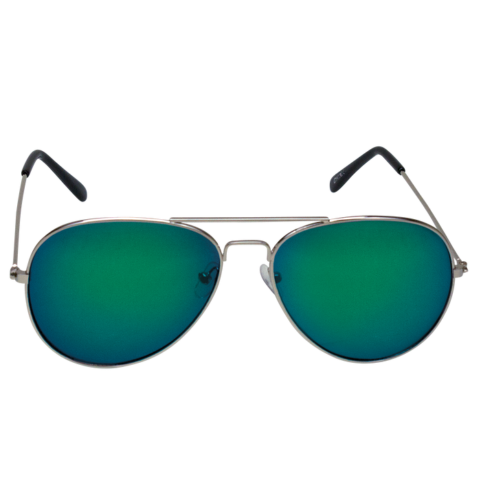 Green Mirrored Miami Aviator Sunglasses