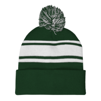 Forest Green Striped Winter Beanie Thumb