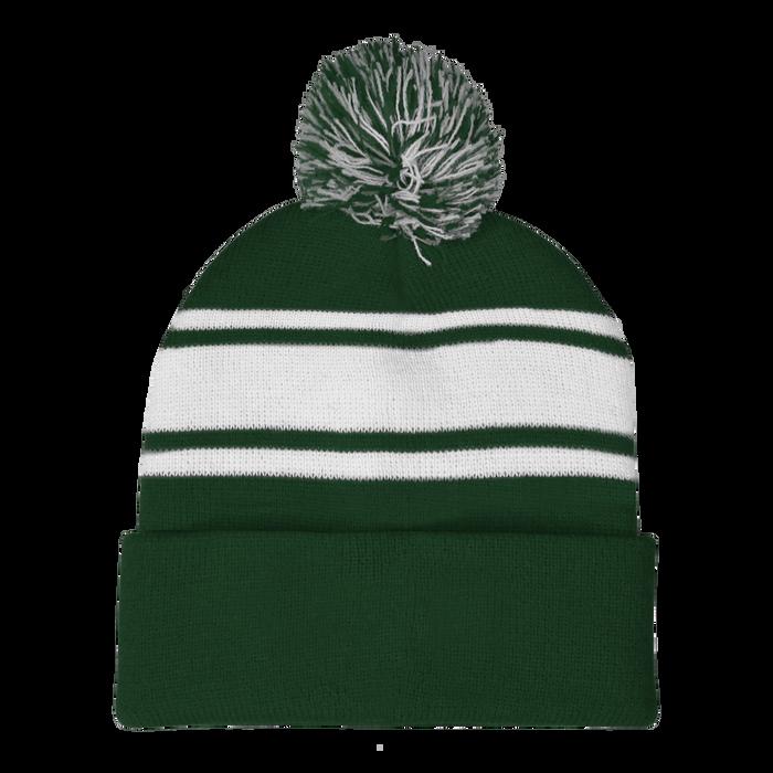 Forest Green Striped Winter Beanie