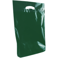 Hunter Green Medium Eco-Friendly Die Cut Plastic Bag Thumb