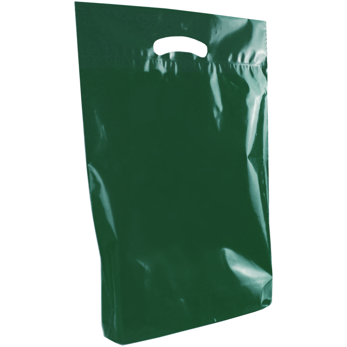 Hunter Green Medium Eco-Friendly Die Cut Plastic Bag