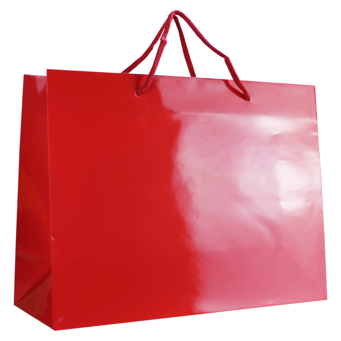 Red Large Glossy Shopper Bag