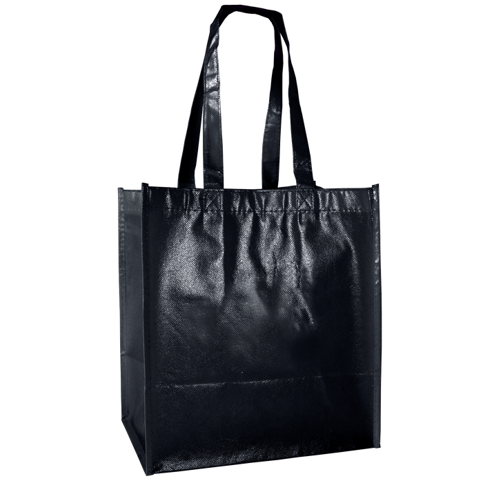Black Laminated Little Storm Grocery Bag