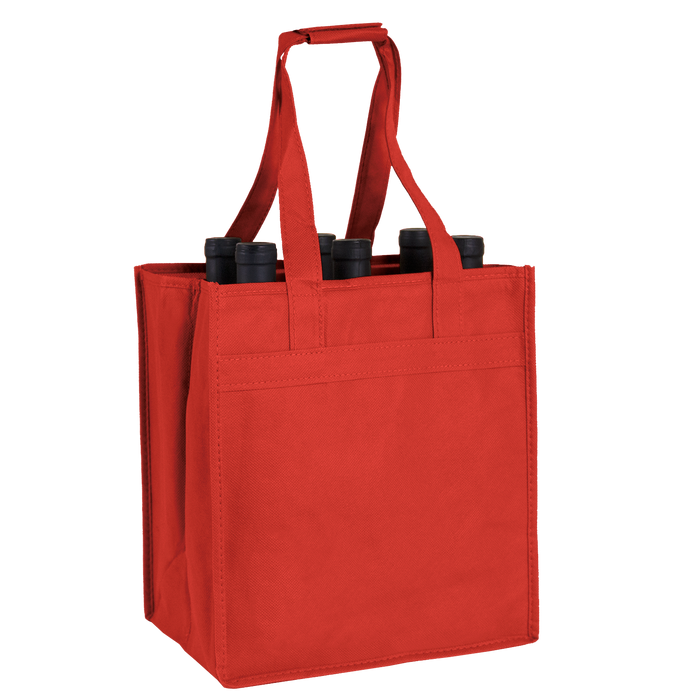 Red 6 Bottle Wine Tote