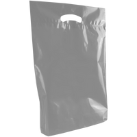 Gray Medium Eco-Friendly Die Cut Plastic Bag Thumb