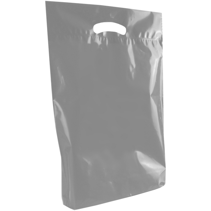 Gray Medium Eco-Friendly Die Cut Plastic Bag
