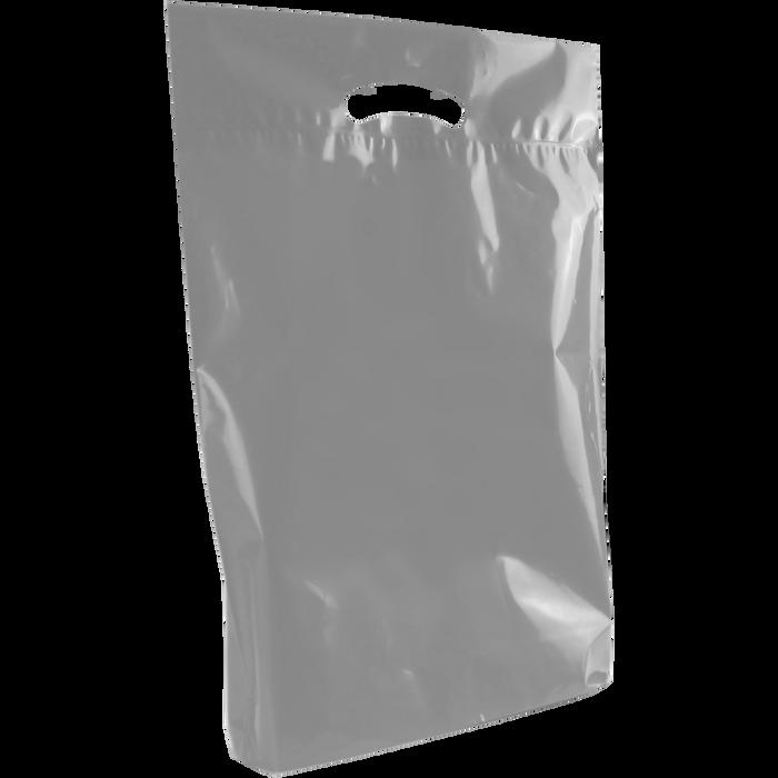 Gray Medium Eco-Friendly Die Cut Plastic Bag