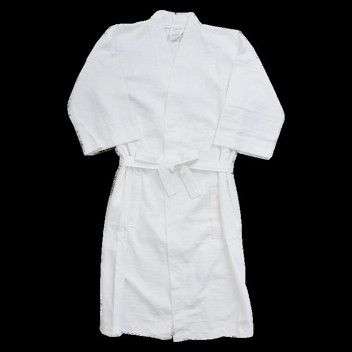 White Cotton Waffle Weave Robe