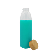 Mint Glass Water Bottle with Bamboo Lid Thumb