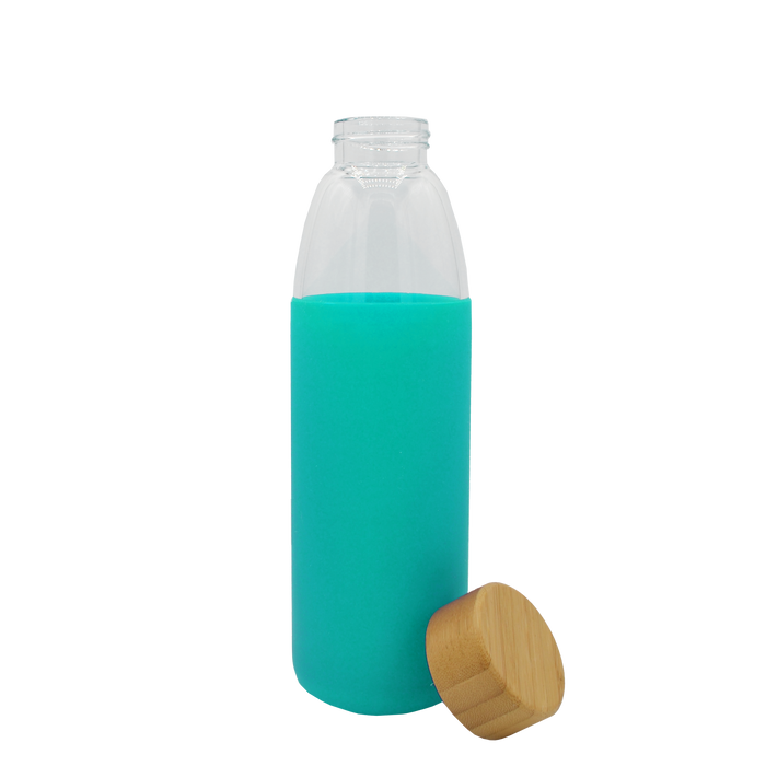 Mint Glass Water Bottle with Bamboo Lid
