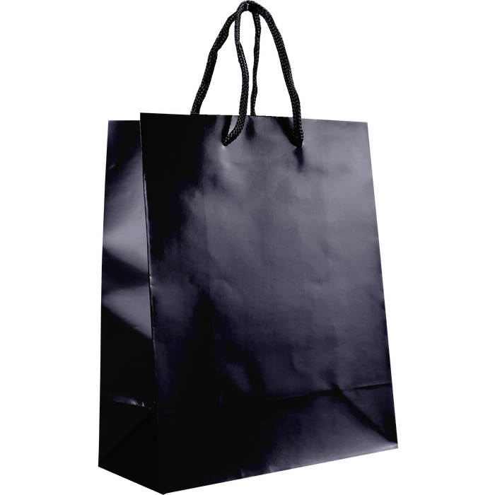 Black Small Glossy Shopper Bag