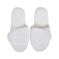 White Adjustable Velour Slippers Thumb