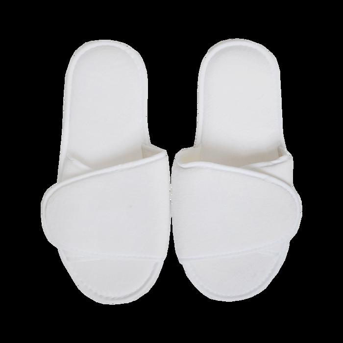 White Adjustable Velour Slippers