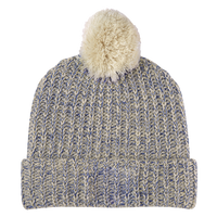 Natural and Navy Knit Knit Pom Beanie Thumb