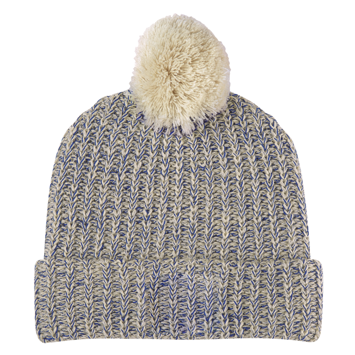 Natural and Navy Knit Knit Pom Beanie