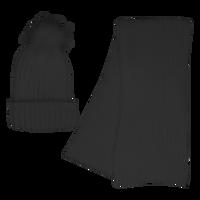 Black Cozy Knit Hat & Scarf Set Thumb