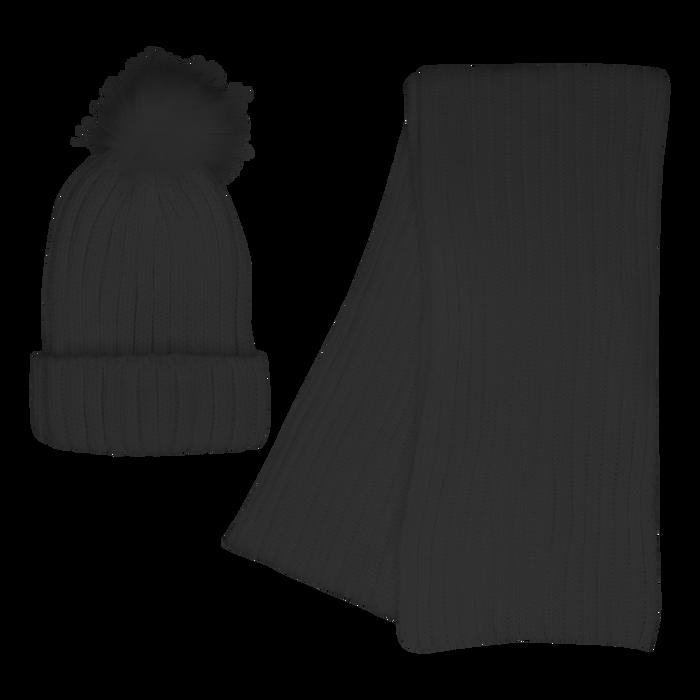 Black Cozy Knit Hat & Scarf Set