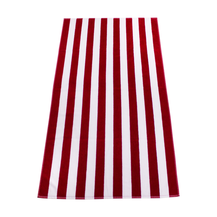 Red Latitude Striped Beach Towel