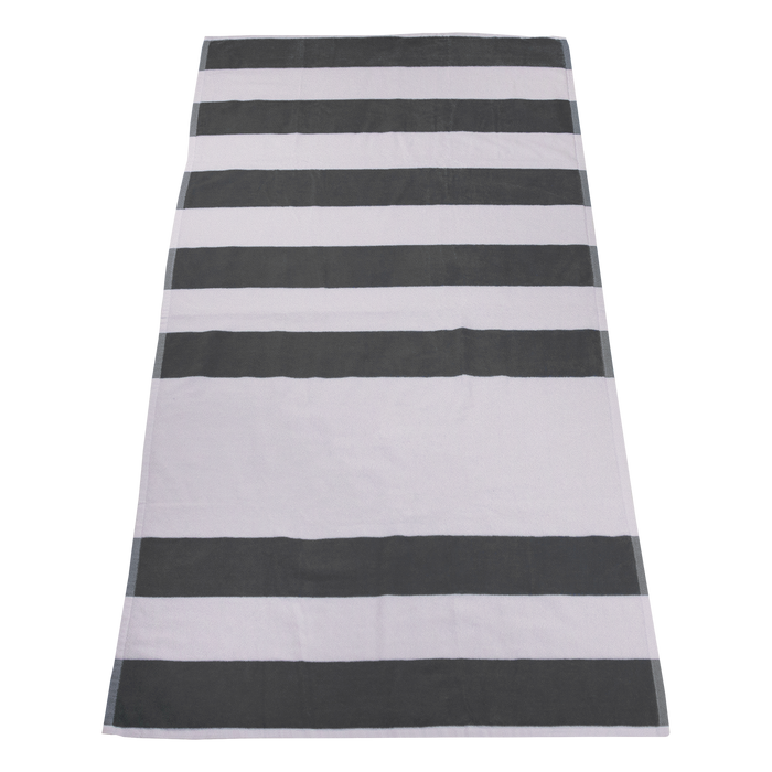 Grey Horizon Striped Beach Towel